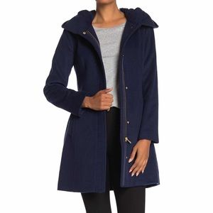 Cole Haan | Navy Wool Blend Zip Front Hooded Coat